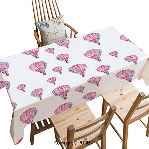 SCOCICI Tablecloths Easy Care Vintage Flying Hot Air Balloons Motif Nostalgic Lovers Goodbye Artful Print for Indoor Outdoor Camping Picnic,W70xL55(inch)