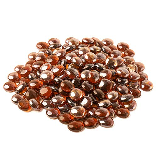 Decorlife Fire Glass Beads 3/4 inch 1.5 Pound Pack Fire Glass for Outdoor Gas Fire Pitand Landscaping Garden and Indoor Flower Pot Vase Fillers Amber Luster (Decorative Marbles For Vases)
