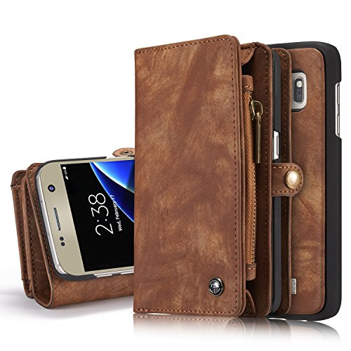 Galaxy S7 Edge Wallet Case, Genuine Cowhide Leather Credit Card Slots Holder Cover Flip Wallet Zipper Purse Case With Detachable Magnetic Hard Case for Samsung Galaxy S7 Edge 5.5 inch - Canada Epacket