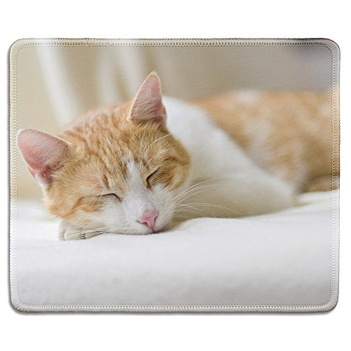 Adorable Mouse - dealzEpic - Art Mousepad - Natural Rubber Mouse Pad Printed with an Adorable Sleeping Kitty Cat - Stitched Edges - 9.5x7.9 inches