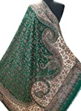 Emerald Green Paisley Shawl Kani Diamond Wool Wrap Pashmina with Floral 80''x40''