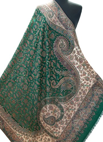 Emerald Green Paisley Shawl Kani Diamond Wool Wrap Pashmina with Floral 80''x40'' by Heritage Trading