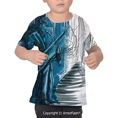 Jazz Music Decor Children's Classic Basic Printed Ultra Comfortable T-Shirt,Sax