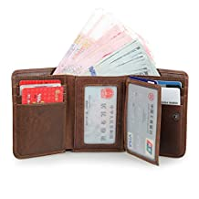Artmi Mens Trifold Wallet RFID Blocking Card Holder Leather Card Case Extra Capacity