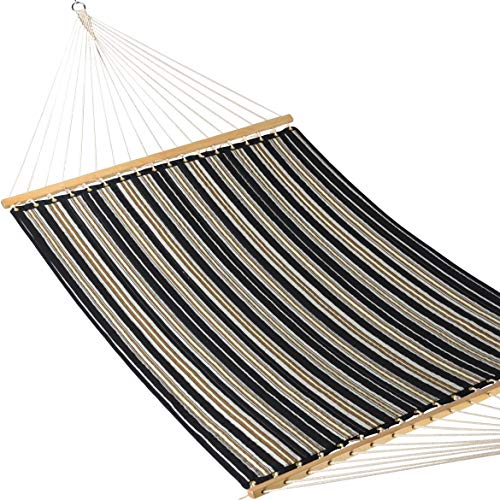 Caribbean Hammocks - Quilted Hammock (Charcoal & Grey Stripe) (Fabric Quilted Large Hammock)