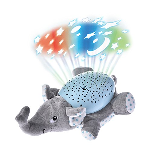 Plush Toy with Ceiling Projector Lights Musical LED Night Light Glowing Star and Moon Sleeping Time Show for Baby and Toddler Kids Room (Elephant) by Aneil