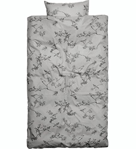 French Country Vintage Style Bedding Toile Birds Duvet Cover 2pc Set Twin Single Size 100% Cotton Blush Pink or Grey Flowers Branches Cherry Blossom Girly Bedding (Grey)