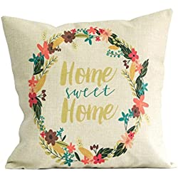 Highpot Simple Beige Letter Wreath Print Square Throw Pillow Case Decorative Cushion Pillow Cover