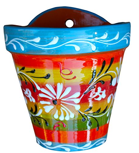 Wall Hanging Flower Pot (Spanish Rainbow) – Hand Painted in Spain