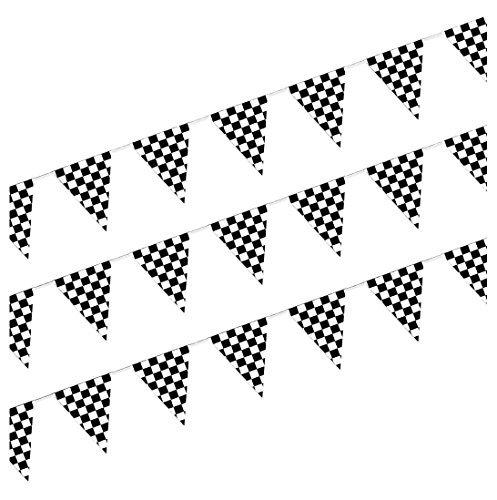Premium Checkered Pennant Banner (3-Pack) by Beistle | High-Quality Outdoor Garland for Childrens Birthday Party -