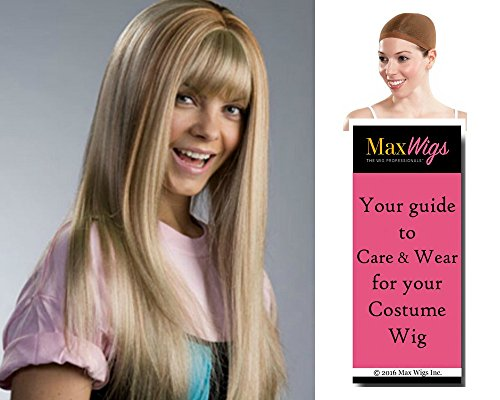 Hannah Monana color BLONDE W/STREAKS - Enigma Wigs Miley Long Straight Cyrus with Streaks Bundle w/Cap, MaxWigs Costume Wig Care -