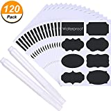 #7: SATINIOR Chalkboard Labels Set, 120 Pieces Reusable Waterproof Pantry Stickers and 2 Pack Erasable White Chalkboard Liquid Pen, Label for Spice Jar, Glass Bottles