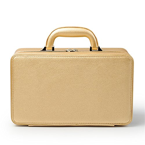 (Oirlv Gold Leather Jewelry Box Handmade Travel Jewelry Organizer Storage Case Holder for Girl Lady Earring,Ring,Necklace,Pendant,Watch,Bracelet.(3 Layers))