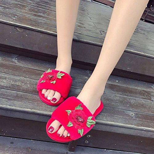 Des Sur Extérieures D'intérieur Fleur Femmes Pantoufles De Dames Par Chaussures Brodé Molleton Rouge Pour Beginning Glissement Peluche Auspicious cCq8wfzx4W