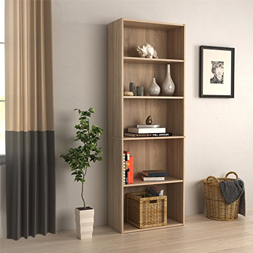 RealRooms Tally 5 Shelf Bookcase, Weathered Oak