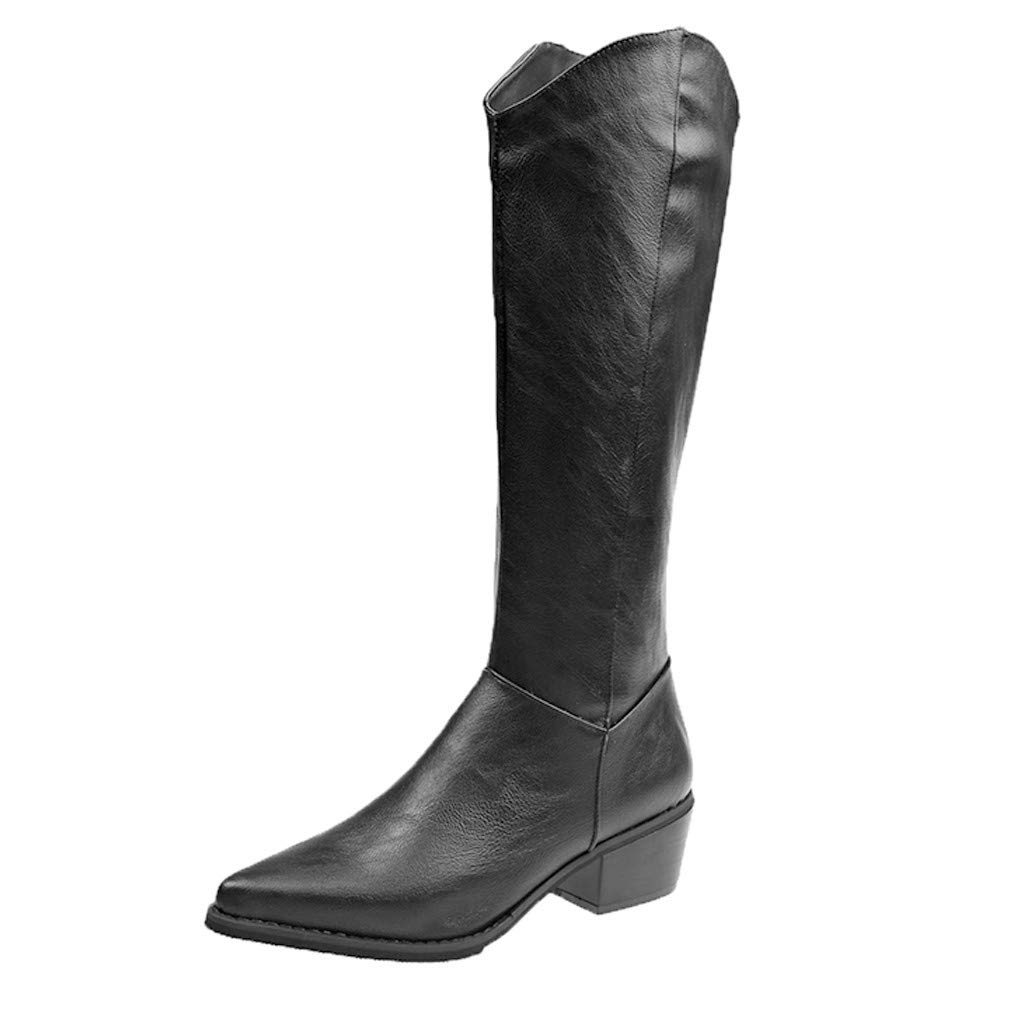 Women's Leather Pointed Toe Knee High Fashion Boots Low Block Heel Mid Calf Waterproof Side Zipper Boots (US:5.5, Black) by Dasuy