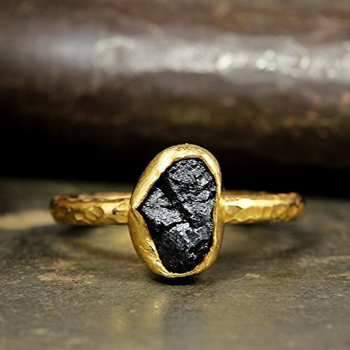 Natural Raw Black Tourmaline Stacking Ring Handcrafted Hammered 24K Yellow Gold Vermeil 925 Solid Sterling Silver Stackable Rough Gemstone Ring