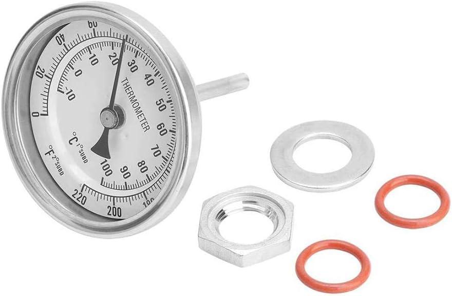 Zidao Termómetro, 1/2 Pulgada MNPT 0~220F Weld-Free Bi-metálico Termómetro Kit termómetro de la Caldera para la Caldera, crisol de la Sopa, fermentador Etc.