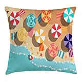 Ambesonne Beach Throw Pillow Cushion Cover by, Summertime Seacoast with Colorful Umbrellas Stars
