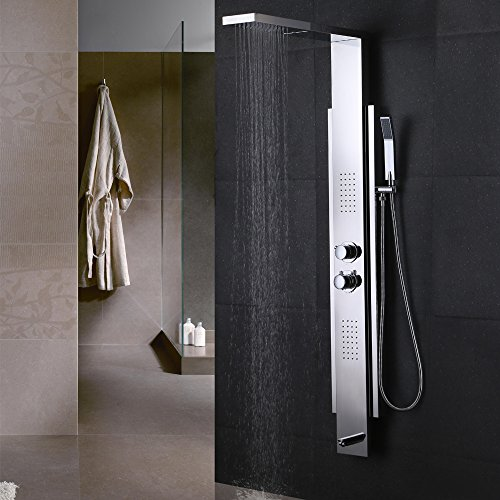 Exposed Thermostatic Bath Shower (KES SUS 304 Stainless Steel Thermostatic Shower Panel 4-Function Rainfall Shower Head Handheld Showerhead Massage Side Spray Tub Spout Bathroom Wall Rain Shower System, Polished, XP2500)