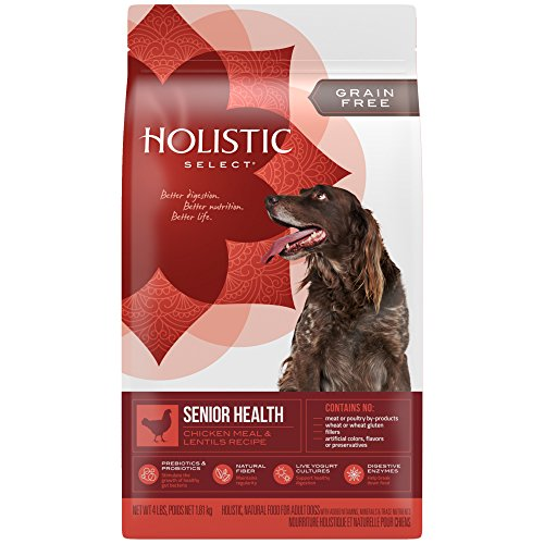 Holistic Select Natural Grain Free Dry Dog Food, Senior Chicken Meal & Rice Recipe, 24-Pound Bag