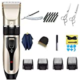 Hair Clippers for Men, AEPLPY Professional Hair Trimmer Clipper Quiet Cordless Hair Cutting Kit with Titanium Ceramic Blade + Hair Cut Scissors Shears with 4 Guide Combs Brush a Cape for men