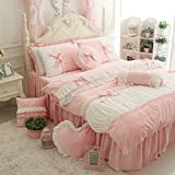 FADFAY Cute Girls Short Plush Bedding Set Romantic White Ruffle Duvet Cover Sets 4-Piece,Pink Twin