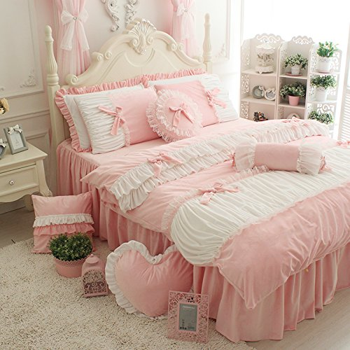 FADFAY Cute Girls Short Plush Bedding Set Romantic White Ruffle Duvet Cover Sets 4-Piece,Pink Full
