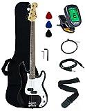 Crescent Electric Bass Guitar Starter Kit - Black Color (Includes CrescentTM Digital E-Tuner)
