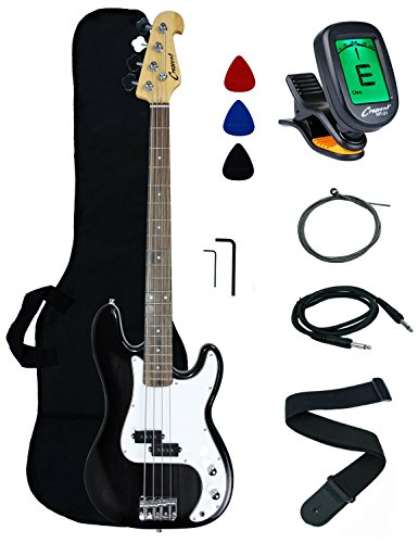 Crescent Zebra Electric Bass Guitar + Strap Amp-cord Gigbag
