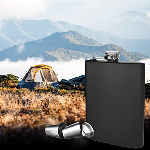 New Scale 8oz Black Flask Gift Set Premium in Black Gift Box 18/8 Stainless Steel and 100% Leak Proof for Discrete Liquor Shot Drinking