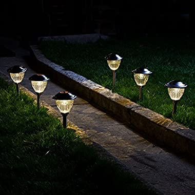 Set of 6 High Quality Water Resistant Solar Stainless Steel Path Lights with Warm White LEDs and Garden Stakes