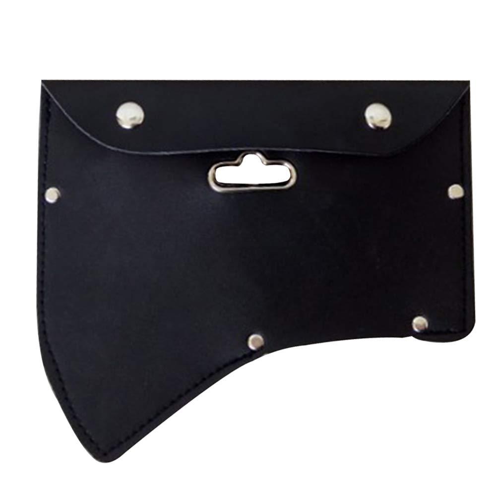 OUNONA Axe AX - Funda de Piel con Gancho (Color Negro)