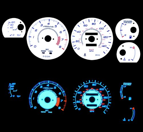 86-92 Toyota Supra Turbo Reverse White Gauges Blue indiglo kit (Gauges Glow Reverse Turbo)