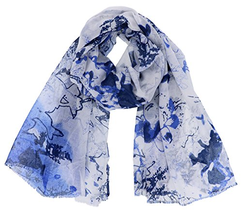 Cozzy Land Women's Light Weight Abstract Color Ink Scarf Wrap (Navy)