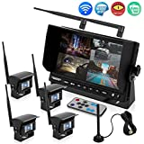 """Pyle Wireless Backup Rearview Dash Camera - Waterproof Car Parking Rear View Reverse Safety Vehicle Monitor System W/Quad View 7"""" Video LCD, DVR Recording, Night Vision - Remote Control - PLCMTR83QIR"""