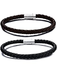 Stainless Steel 6mm Mens Womens Braided Bangle Leather Bracelet Rope Magnetic-Clasp 7.5-8.5 Inch