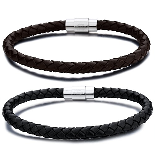 Jstyle Stainless Steel 6mm Mens Womens Braided Bangle Leather Bracelet Rope Magnetic-Clasp 7.5-8.5 Inch