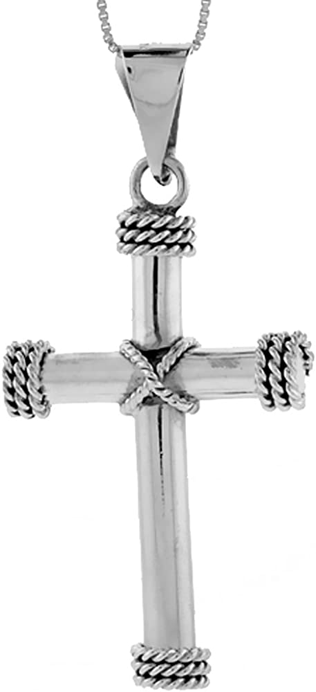 Mens Large Rope Cross Pendant 925 Solid Sterling Silver High Polished