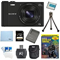 Sony WX350 DSC-WX350 DSCWX350B DSC-WX350/B 18 MP Digital Camera (Black) 64GB Kit Includes Camera, 64GB memory card, DVD, battery pack, Rapid AC/DC Charger carrying case, Card reader, + More