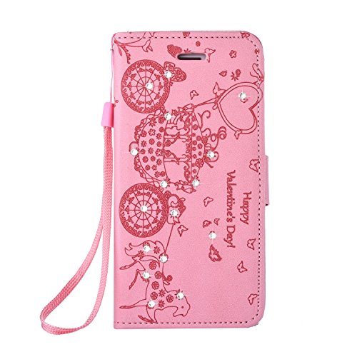 SRY-Bolsa para teléfono móvil Con la ranura para tarjeta, cordón, en relieve moda abrir el teléfono celular Shell para Apple IPhone 6 6s ( Color : Gold , Size : IPhone 6s ) Pink