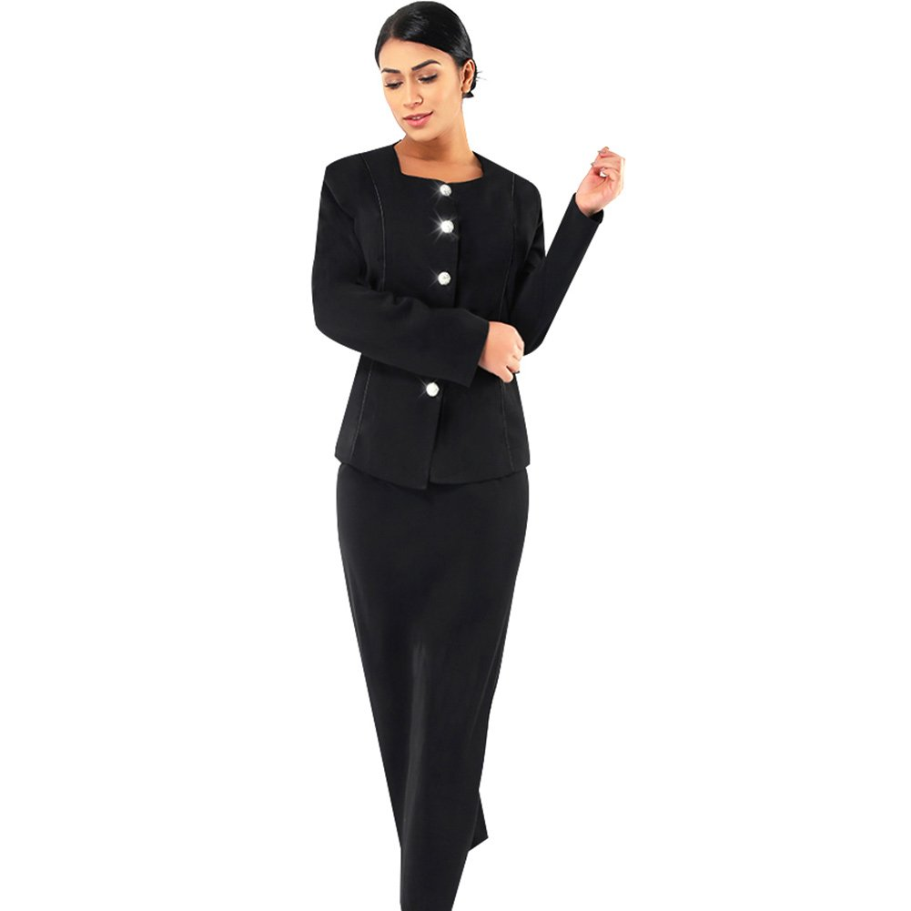Kueeni Women Church Suits with Hats Church Dress Suit for Ladies Formal Church Clothes Black by Kueeni (Image #1)