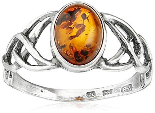 Amber Stone Jewelry - Sterling Silver Amber Celtic Love Knots Ring, Size 6