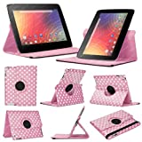 Baby Pink & White Polka Dot Google Nexus 10 (1st Generation) Case - Leather Smart Case with 360° Rotating Swivel Action for Portrait and Landscape Orientation with Free Screen Protector and Stylus Touch Pen by Stuff4®