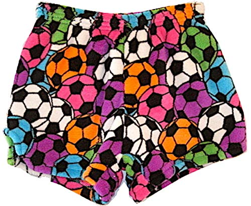 Made with Love and Kisses Girl's Fuzzy Plush Pajama/Loungewear Shorts - Soccer Balls (Neon) - -