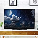 L-QN tv dust Cover Celestial Solar Night e Stars Mo and Clouds Heaven Place in Cosmos Theme Dust Resistant Television Protector W36 x H60 INCH/TV 65''