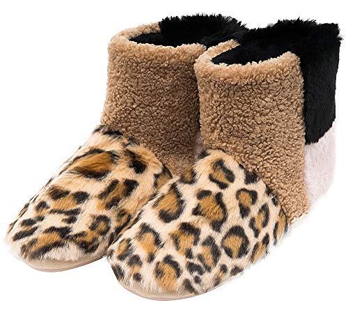 MIXIN Women's Warm Faux Fleece Fuzzy Indoor Outdoor Slipper Boots Shoes (5-6 M US Women, ()