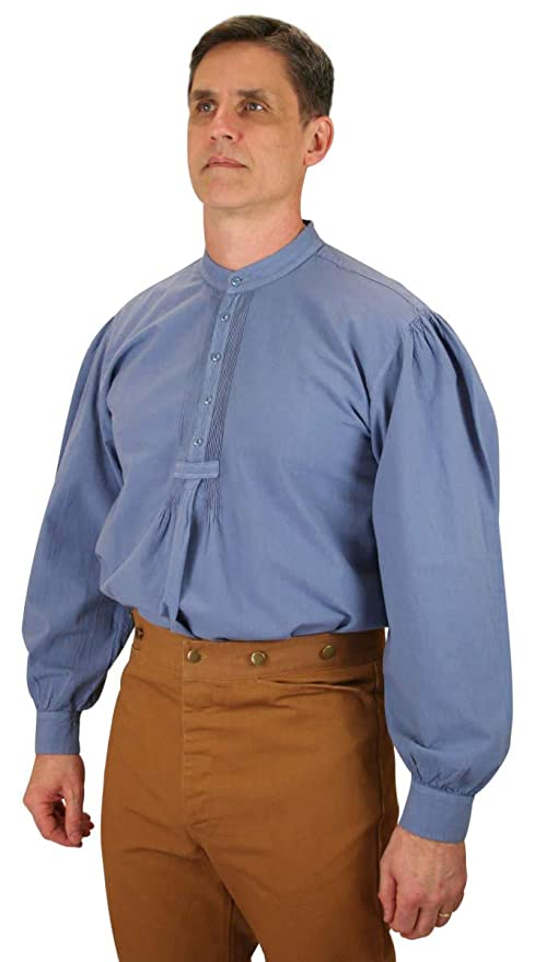 Victorian Men's Shirts- Wingtip, Gambler, Bib, Collarless Historical Emporium Mens Fundamental Cotton Work Shirt $59.95 AT vintagedancer.com