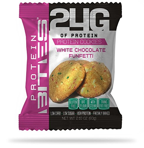 My Protein Bites   Protein Cookies   24 Grams Of Protein, Low Carbs & Low Sugar   Gluten Free & Sweetened with Stevia   (White Chocolate Funfetti, 12 Pack's of 3 Cookies)