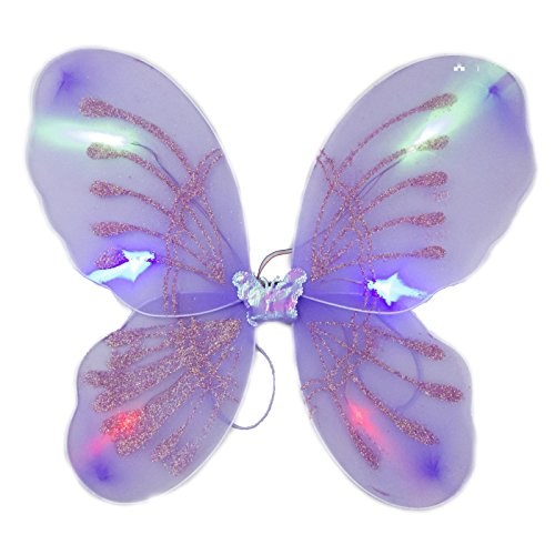 blinkee Light Up Purple Fairy Butterfly Wings by LED Halloween Costume for Trick or Treating and Night Time -